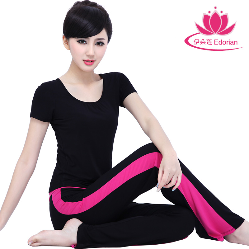 Iraq lotus flower spring and summer yoga clothes suit aerobics workout clothes yoga workout clothes yoga clothes increasingly workout clothes short sleeve hit color female 4321