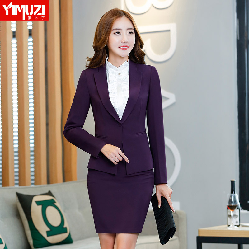 Iraq muzi autumn and winter wear skirt suits ol white collar long sleeve dress suit three sets of business suits foreground overalls female