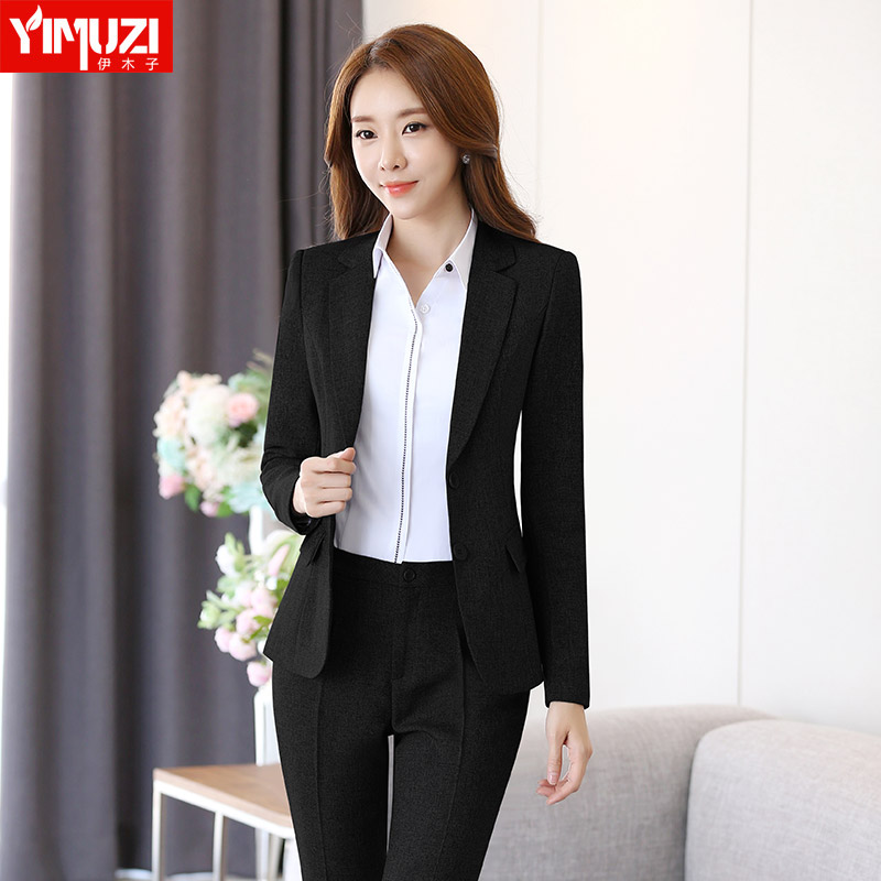 Iraq muzi career suits two button suit korean version of ol chaps business overalls interview tooling female trousers with disabilities