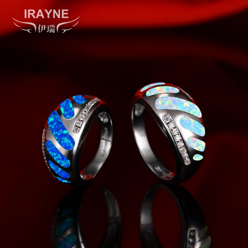 Irayne opal ring 925 silver synthetic opal gemstone fashion female models transfer business lucky stone fire color