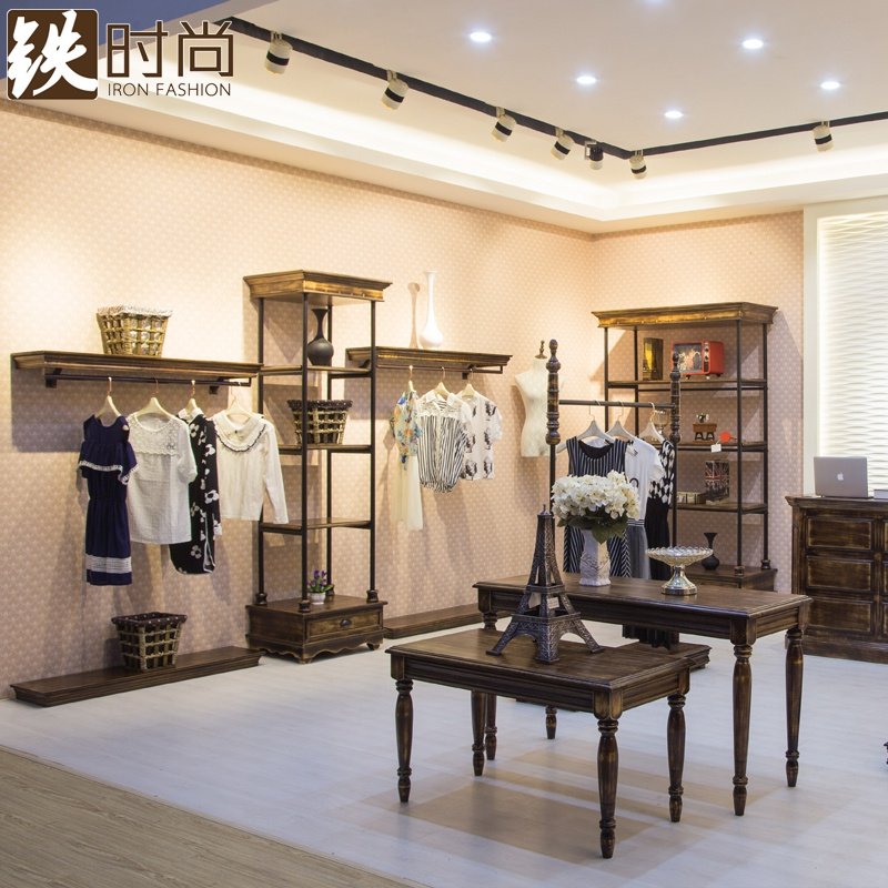 Iron fashion clothing store display rack on the wall clothing style solid wood shelf display rack hanger floor rack in the island