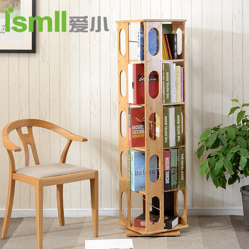 Is/love small bamboo 360 degree rotating bookshelf creative multilayer solid wood bookcase shelf bookcase bookcase simple student
