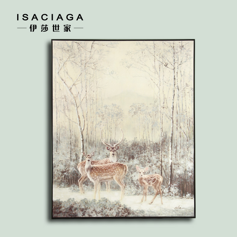 Isa family bor gong scandinavian minimalist living room decorative painting restaurant entrance mural paintings animal elk