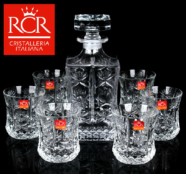 Italy rcr imported crystal wine glasses of whiskey jiuzun suit square gift box wine gift free shipping