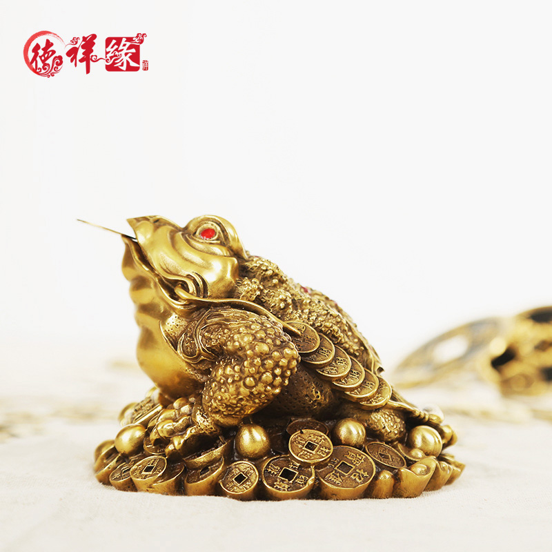 Itc edge copper ornaments lucky toad toad three gold cai feng shui ornaments large opening gifts shop