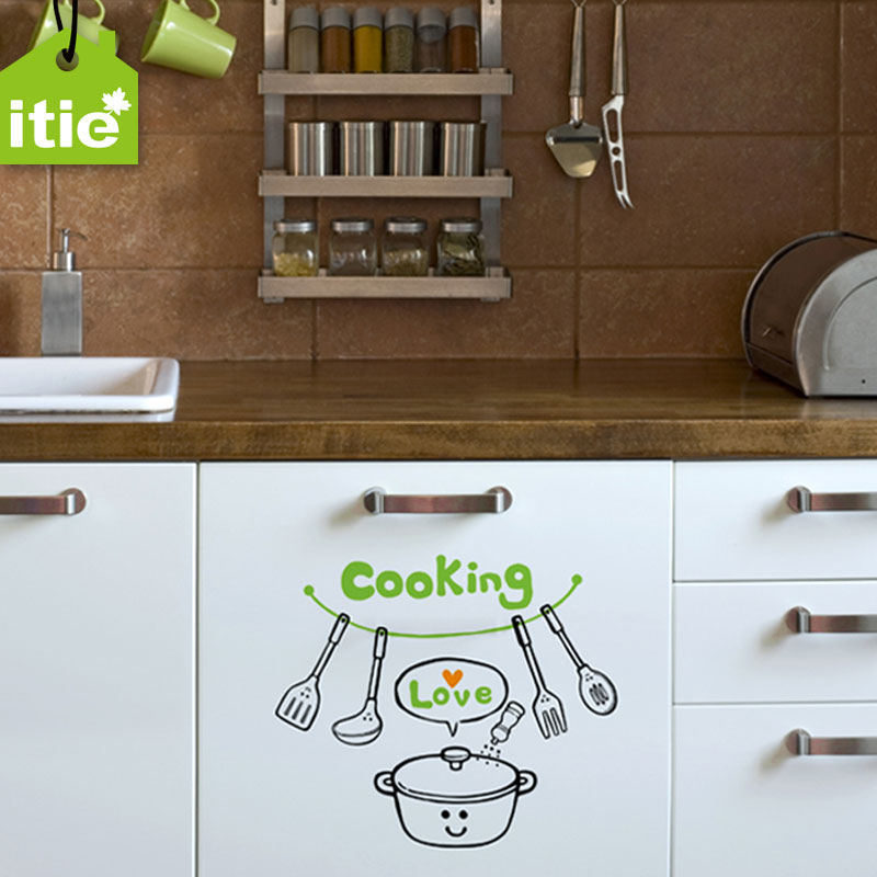 Itie love stickers ã ã love cute kitchen cooking ambry agrodolce shop window glass wall stickers