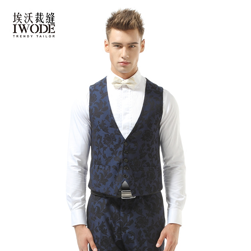 Iwode/evo new men's black and blue vest men's business casual summer thin banquet