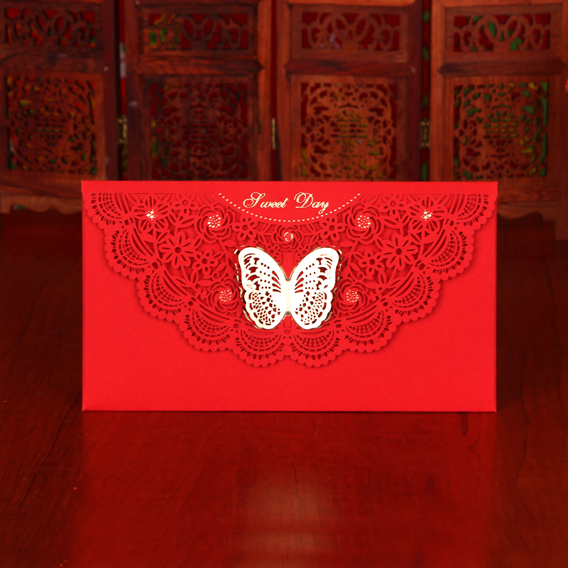 Jacuzzi zhixin wedding red wedding new korean fashion hollow thick hard red packets thousand yuan red envelopes