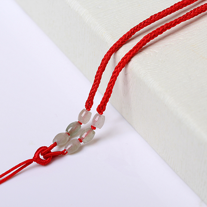 Jade pendant rope lanyard jade crystal pendant female red string woven lanyard rope necklace men and women