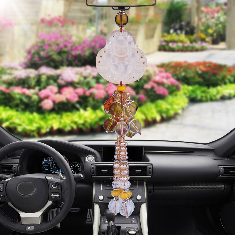 Jade upscale car rearview mirror pendant word blessing car ornaments car supplies security and peace guanyin buddha hold