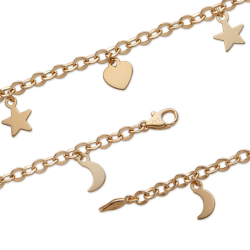 Jael korean k gold bracelet wide bracelet female prime pure k gold bracelet moon and the stars bracelet