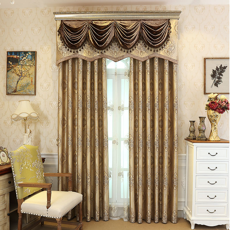 Get Quotations · Jane European Silk Color Embroidery Jacquard Blackout  Curtains Bedroom Living Room Curtains Custom Angela