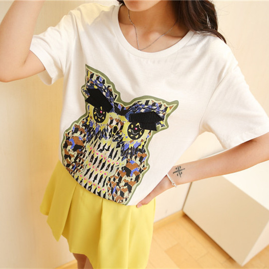 Jane excellent honey spring 2015 spring new korean version of large size women loose short sleeve t-shirt white t-shirt