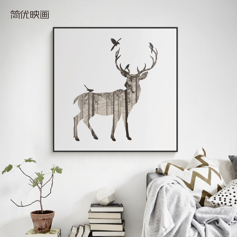 Jane excellent pictures painting modern minimalist paintings children's room decorative painting forest animals deer kids room living room wall painting