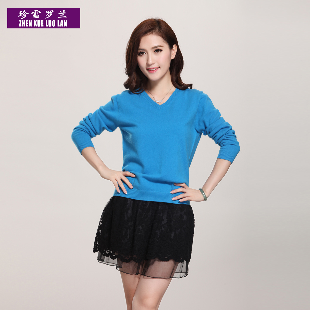 Jane snow roland special genuine ms. hedging loose wool sweater solid color sweater korean version of v-neck sweater free shipping
