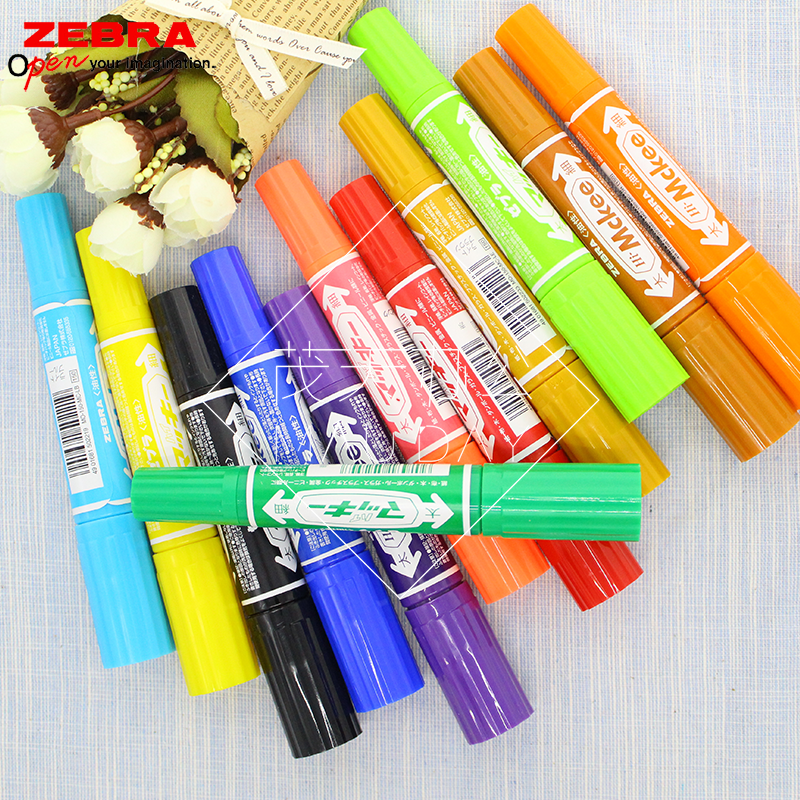 Japan 12 color marker permanent marker pen zebra zebra zebra large double oil pen marker pen free shipping