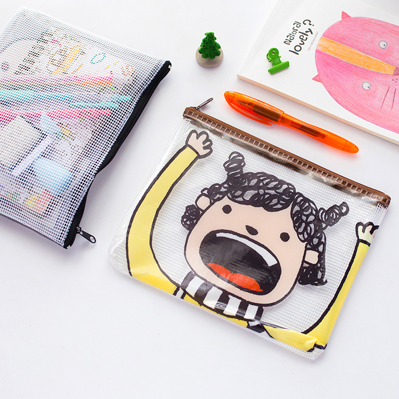 Japan and south korea creative stationery wheat cracking pakistani bear cartoon graffiti small partners pvc mesh zipper bag document bag