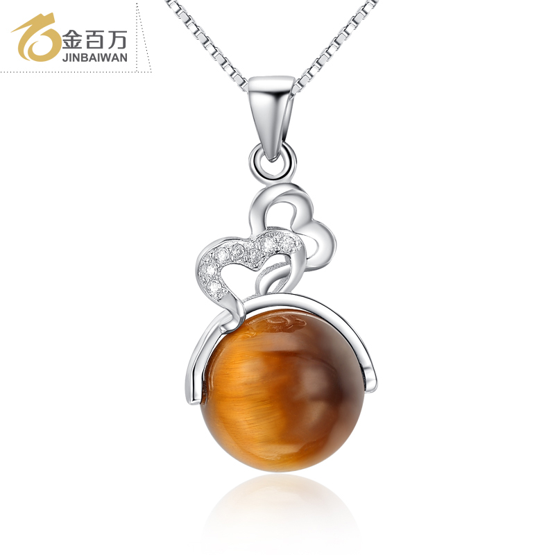 Japan and south korea korean short paragraph clavicle necklace noble models inlaid natural tiger eye gemstone pendant 925 silver accessories