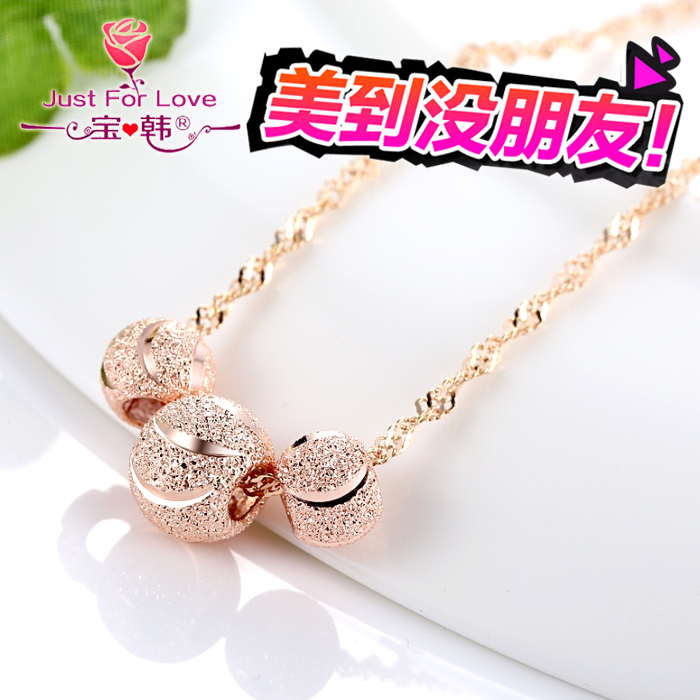 Japan and south korea sweet k rose gold plated necklace s925 silver color gold color gold necklace ms. clavicle transfer beads lettering ornaments
