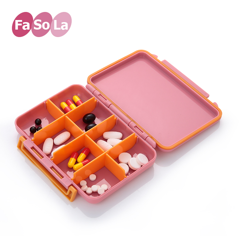 Japan fasola multifunction portable kit pill box grid small kit one week pill box with the body points