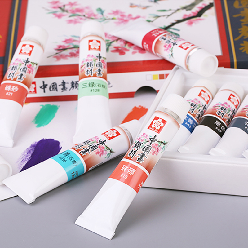 Japanese cherry 24 color 18 color pigment painting chinese painting pigments 12 color pigment 12 ml suit free shipping