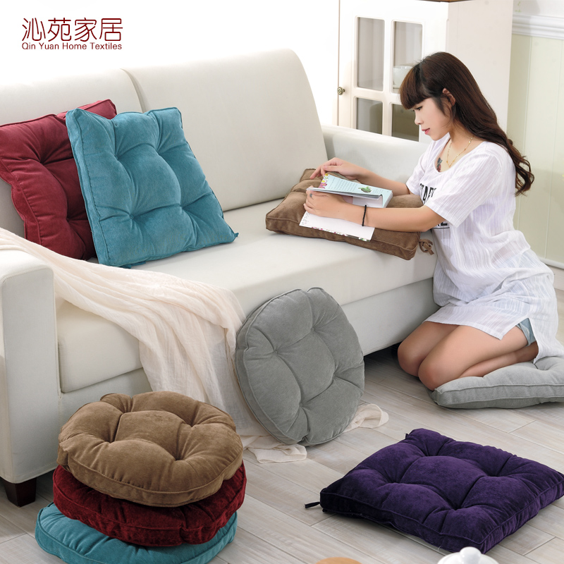 Japanese office backrest upholstery fabric cushion thick fat pad futon cushion cushion simple solid color corduroy