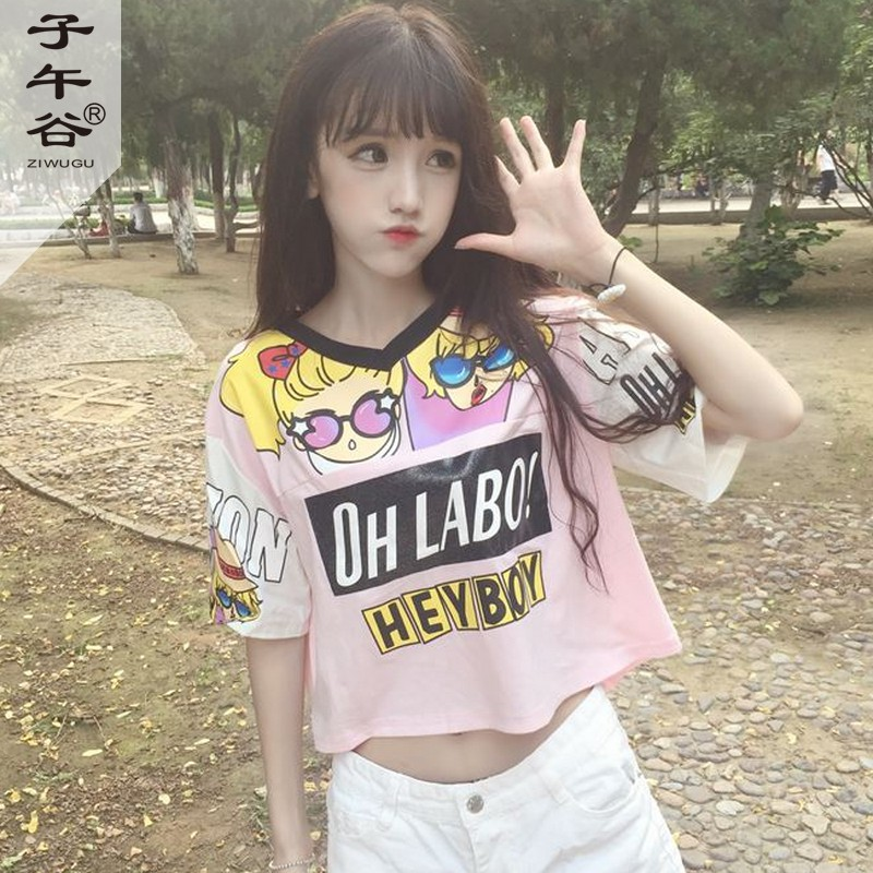 Japanese soft sister harajuku cute pink short paragraph v-neck short sleeve t-shirt summer korean version of the wide pine student short paragraph coat