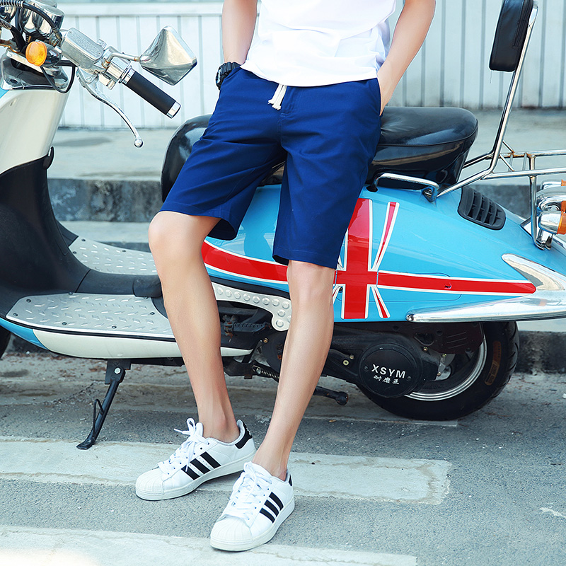 Japanese washing retro color elastic waist pants shorts shorts male summer new men's casual trousers tide teenagers