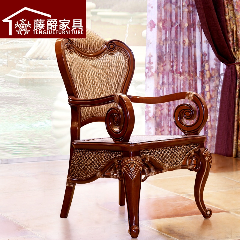 Jazz rattan wicker chair lounge chair wood dining chair beech wood chair armchair armchair chinese meal office chair rattan chair