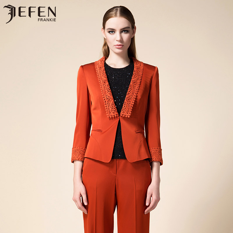 Jefen giffen italian high mercirizing soluble embroidery satin collar suit new suit coat
