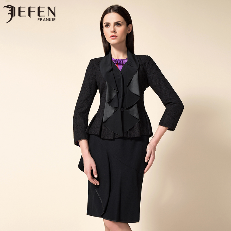 Jefen giffen suit female autumn new italian mercirizing wavy lace collar long sleeve slim suit