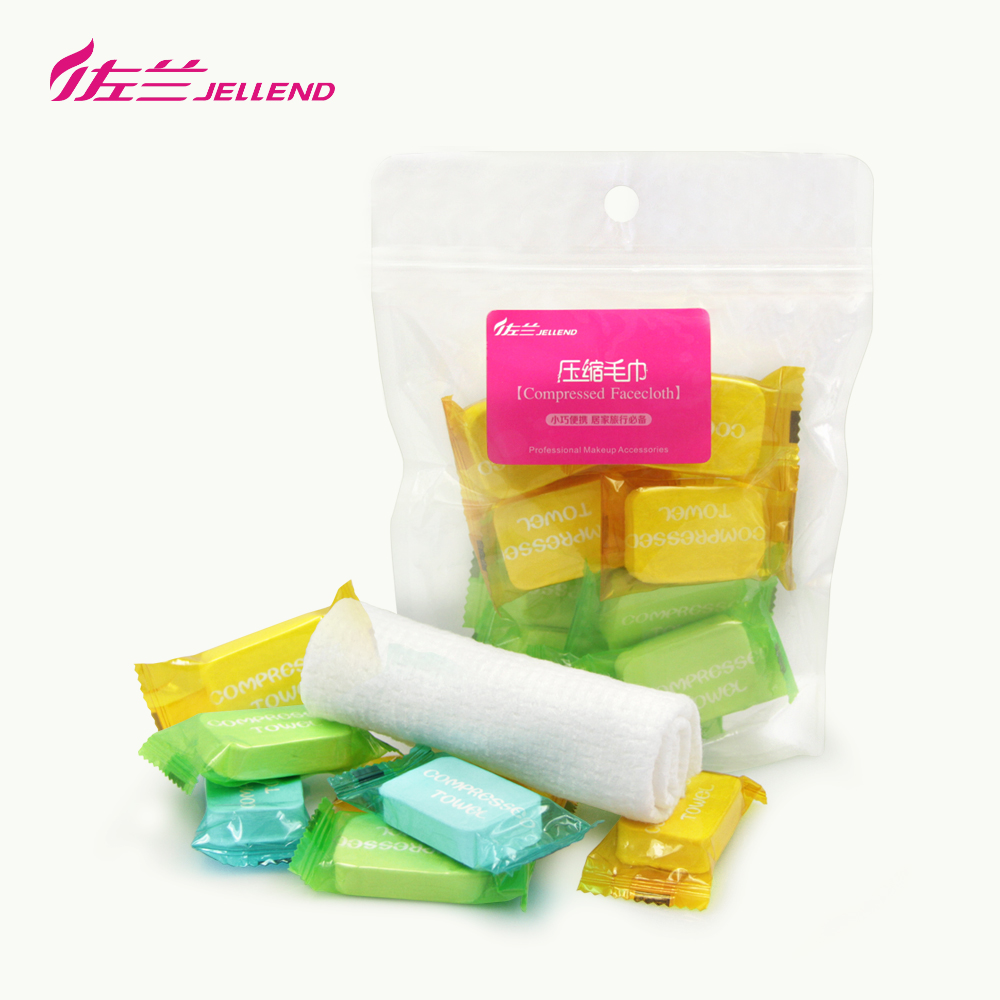 Jellend/zoran portable mini compressed towel disposable cleansing towel face towel travel 10 capsules
