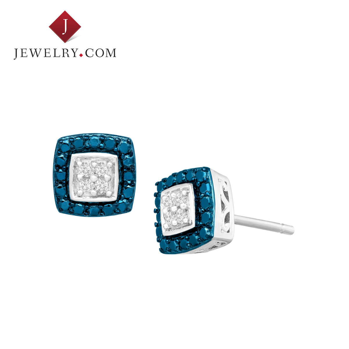 Jewelry.com official 0.1 karat of blue and white diamond silver plated brass material elegant female models ear nail
