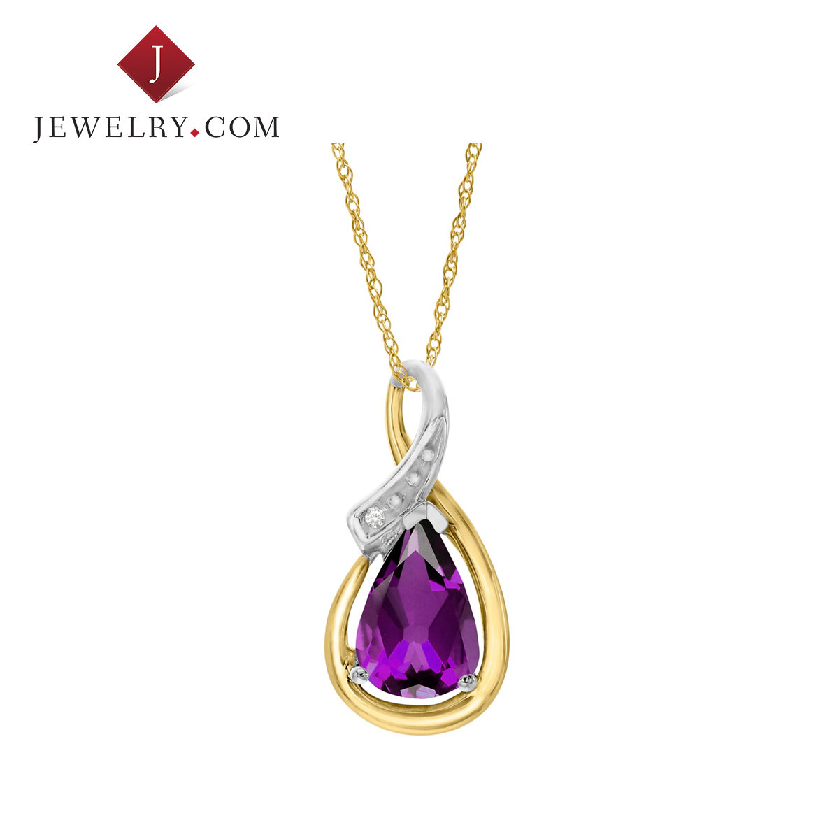 Jewelry.com official 1.2 karat k gold inlay diamond sterling silver amethyst pendant charm female models jewelry