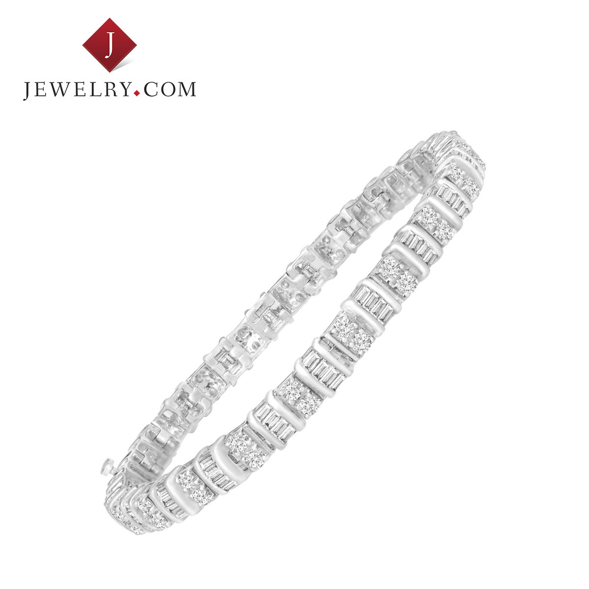 Jewelry.com official 3 karat k white gold inlay diamond luxury dignified atmosphere female models bracelet jewelry