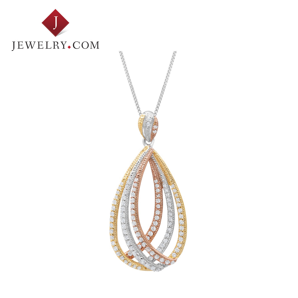Jewelry.com official a-al2o3 silver plated three color 925 k gold inlaid zircon pendant necklace with jewelry in europe and america