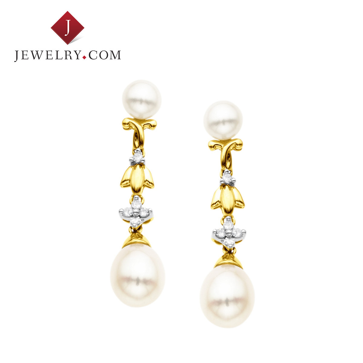 Jewelry.com official elegant 0.1 karat k gold pearl inlay diamond earrings european and american fashion new