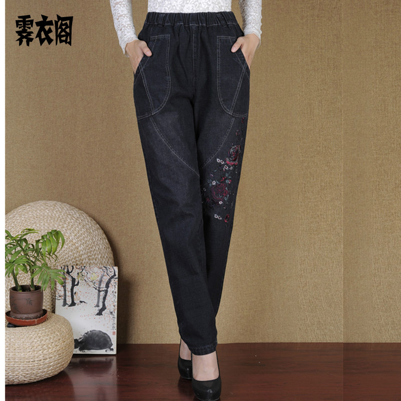 Ji yi court in older women jeans pants national wind middle-aged mom pants pants big yards straight casual pants