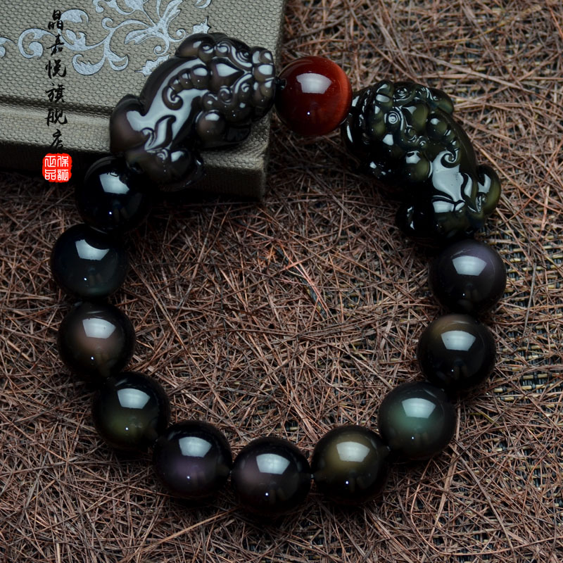 Jia jing yue brave the ice kind of obsidian double rainbow obsidian eye bracelet male and female models natural crystal jewelry bracelets