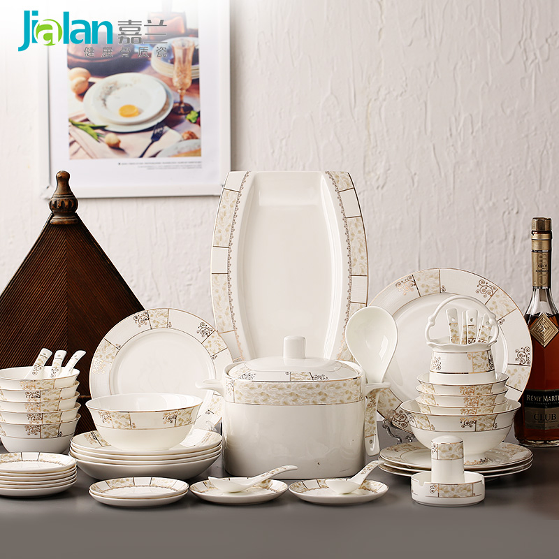 Jia lan 56 continental bone china crockery plate cutlery set western creative dishes tableware wedding gift box