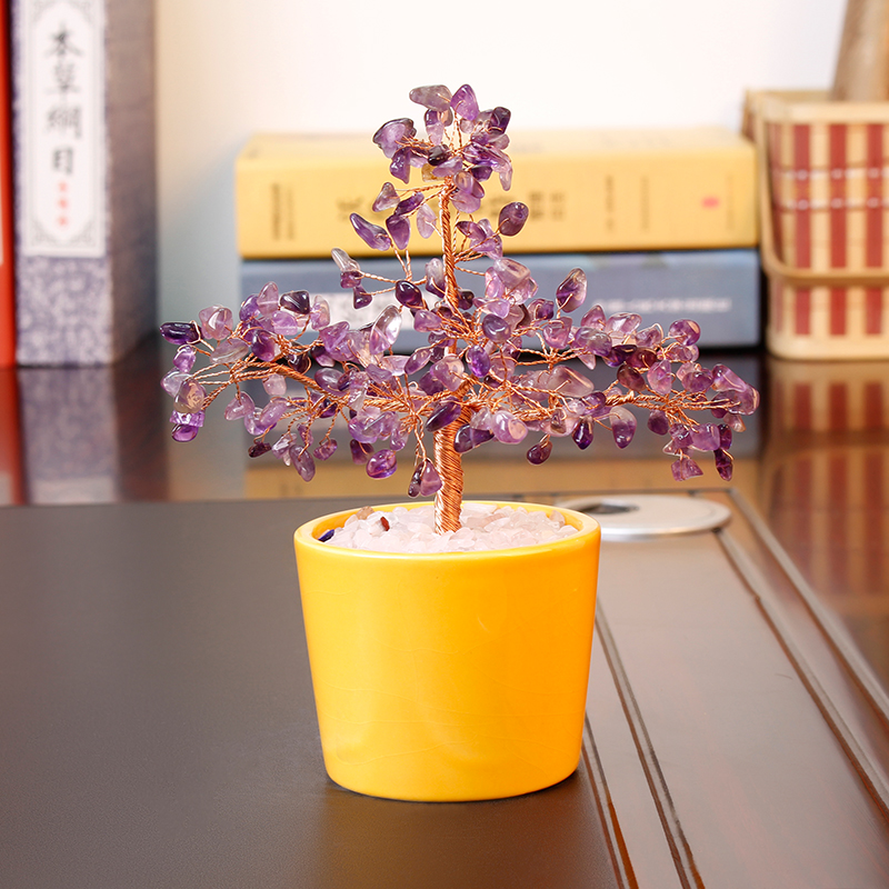 Jia thick mining natural crystal wishing tree creative small living room tv cabinet ornaments home decorations birthday gift