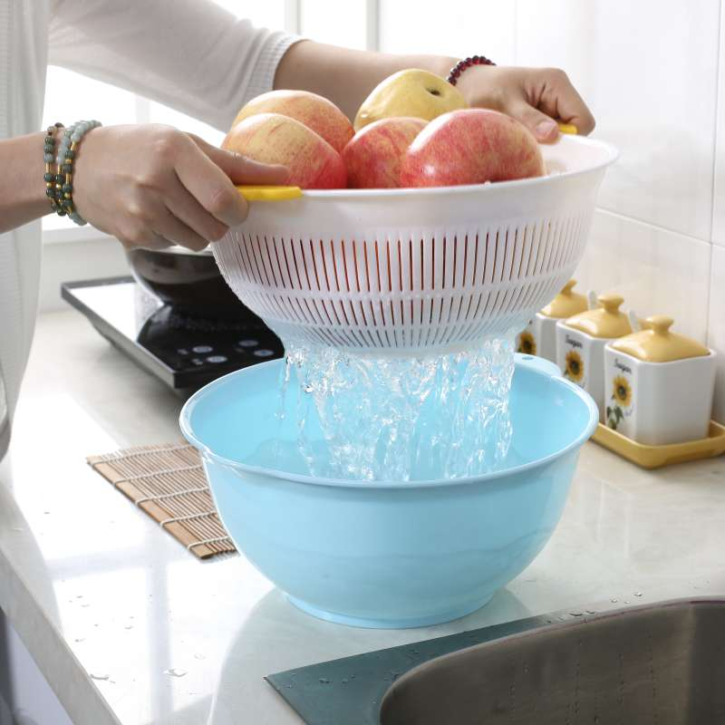Jialin card simple and stylish g of fruits and vegetables dripping sieve drip drip pots plastic double drain kitchen supplies shank birdbath
