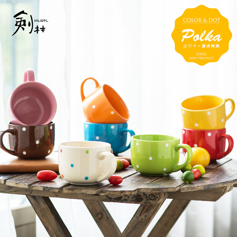 Jian lin japan and south korea style polka dot fat mug cup ceramic coffee cup creative minimalist home child breakfast milk cup