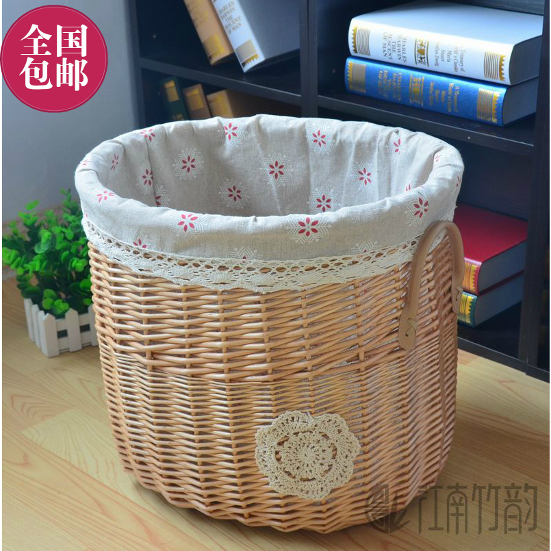 Jiangnan zhuyun bamboo rattan wicker non plastic snack baskets laundry baskets clothes storage basket laundry bucket shipping