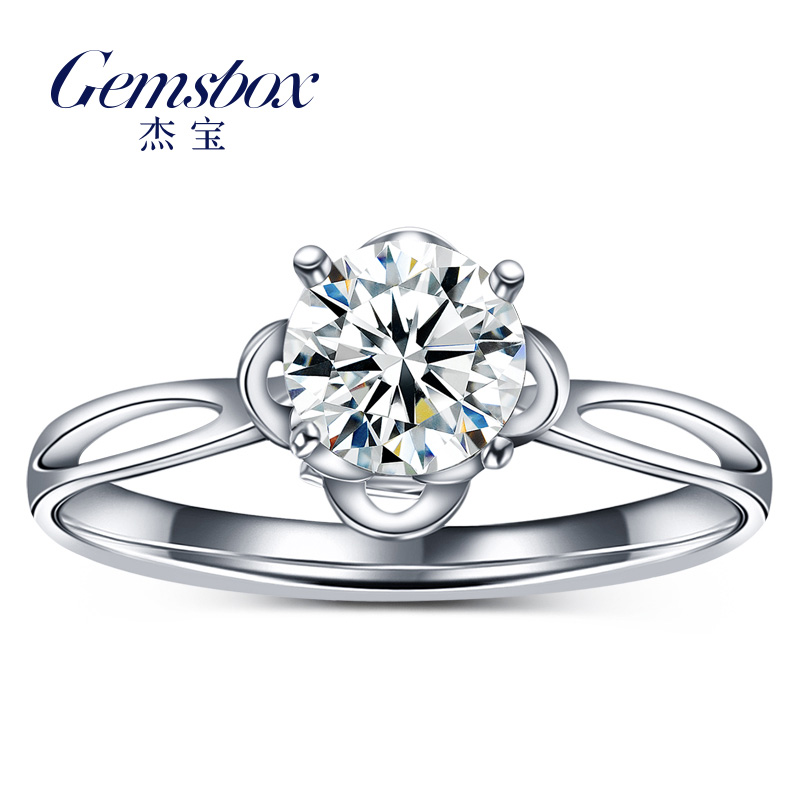 Jie bao asked love k white gold diamond single diamond engagement ring diamond wedding ring diamond ring four claw female new