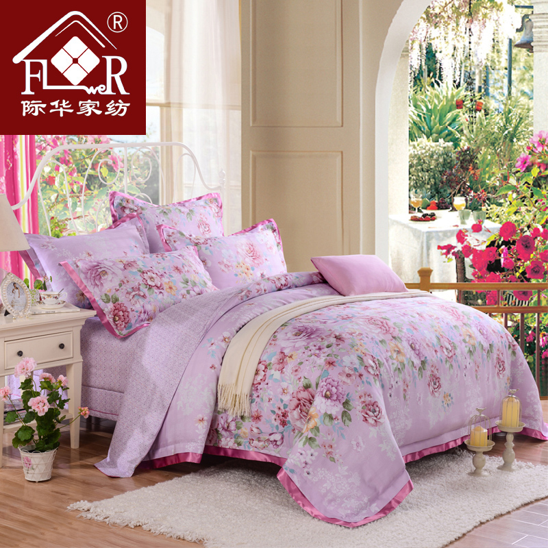 Jihua new textile tencel jacquard cotton reactive printing a family of four sets of bed linen bedding sets free shipping