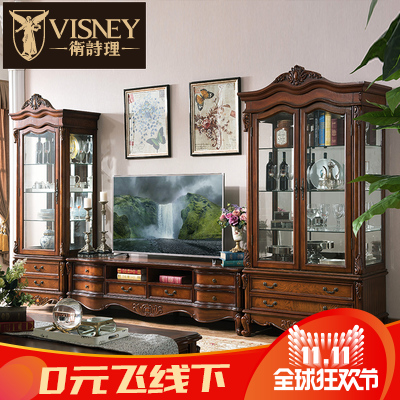 Jill rationale furniture t.j. euclidian american solid wood tv cabinet wine cabinet tv cabinet combination living room lockers w2