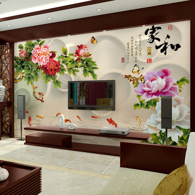 Jimei large custom mural wallpaper tv backdrop of chinese wallpaper seamless 3d nonwoven wallpaper mural bedroom room family