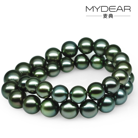 Jimmy code jewelry 11-12-13mm 13mm perfect circle natural seawater tahitian black pearl necklace genuine female malachite