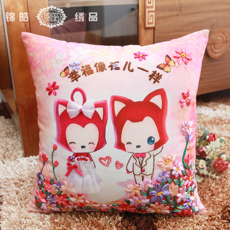Jin hao new cartoon married couples celebrate the living room color ribbon embroidery stitch pillow cushions one pair free shipping